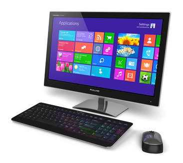 Modern office business desktop computer PC system monitor with touchscreen interface with color icons, keyboard and mouse isolated on white background
